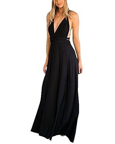 Damen Rückenfrei Tiefer V-Ausschnitt Neckholderkleider Maxikleid Strandkleid Abendkleid Ballkleid Cocktailkleid Partykleid Schwarz M