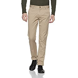 Arrow Sports Men's Straight Fit Cotton Casual Trousers (ARGT1306_38W x 34L_Me. Brown)