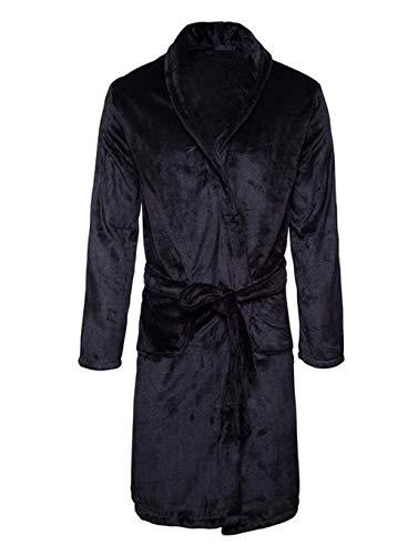 Hx fashion camicia da notte da uomo di nergen autunno taglie comode e inverno pigiama in pile di corallo morbido e confortevole accappatoio per la casa abiti (color : nero, size : xl)