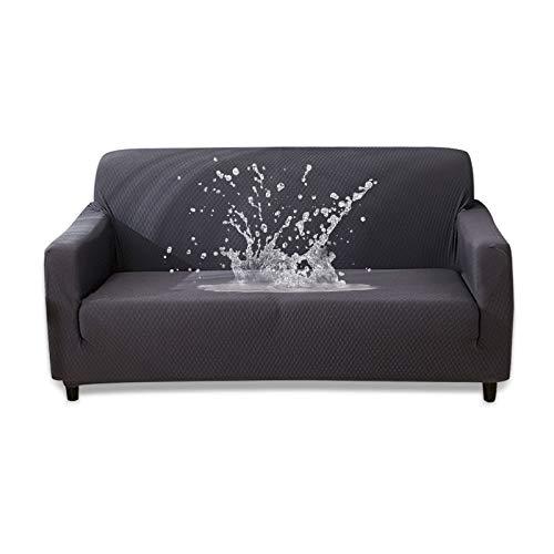 HOTNIU Wasserdichtes Stretch Sofa Schonbezug - 1-Piece Dehnbarer Stoff Couch Cover - Beflockt Muster Ausgestattet Couch Schonbezug (4-Sitzer, Grau)