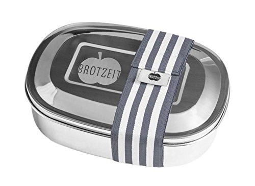Brotzeit- Lunchbox Brotbüchse UNO Metall Edelstahl mit Band gestreift, Schuleinführung, 16x11x4cm, Grau