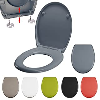MSV WC Sitz Toilettendeckel Duroplast mit Absenkautomatik und auf Knopfdruck abnehmbar zur Reinigung in Anthrazit – Easy Fix Clip System