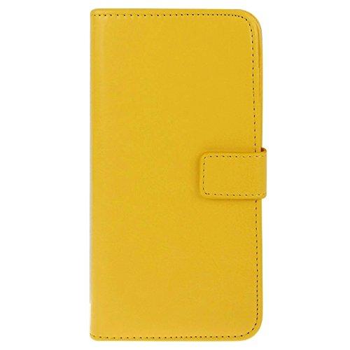 wkae Schutzhülle Fall & Cover 2in 1teilbar Crazy Horse Texture Wallet Stil Flip Leder Tasche Case für iPhone 6& 6S gelb