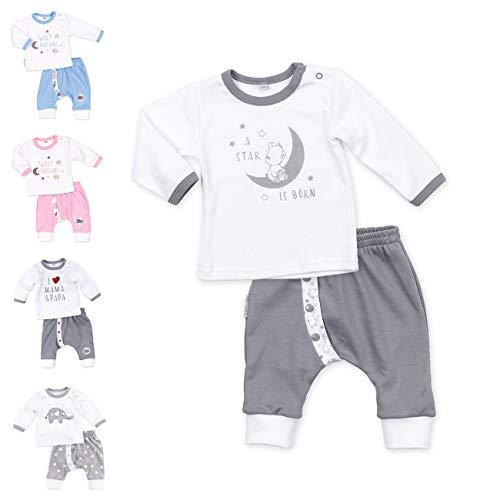 Baby Sweets Baby Set Hose + Shirt Unisex weiß grau | Motiv: A Star is Born | Babyset 2 Teile mit Bärenmotiv für Neugeborene & Kleinkinder | Größe 6 Monate (68)