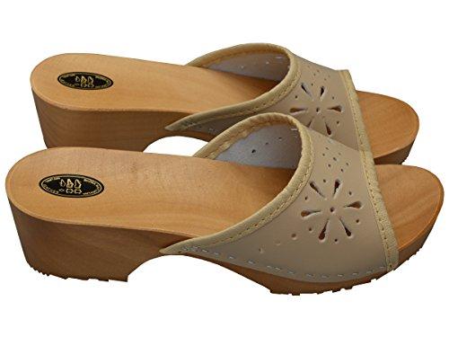 Damen Clogs Holzschuhe Leder Holz Pantoletten mit Absatz Sandalen Bunte Farben VK10 Beige