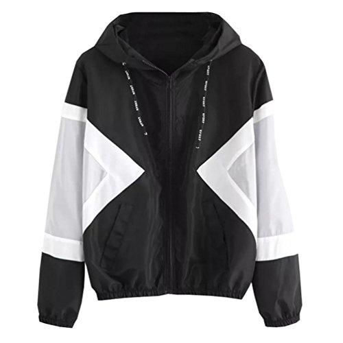 TWIFER Langarm Jacke Patchwork Dünne Reißverschluss Taschen Sport Mantel Skin Suits Pullover mit Kapuze - Baumwolle Bestickt Verziert Top