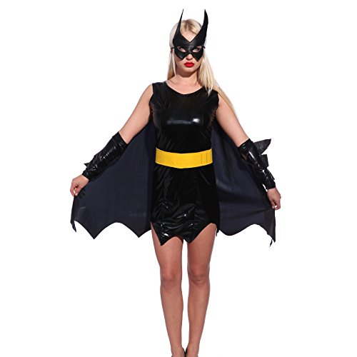 Batgirl Gr.S Damen Halloween Kostuem Superheldin Sexy Woman hero f. Karneval Party Mottoparty (Female Super Hero Kostüm)