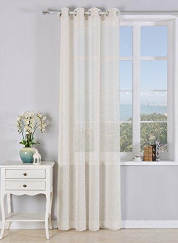 PimpamTex - Rideau Translucide 140x260 cm, avec 8 œillets pour le salon et la chambre à coucher, Modèle Matilda - Sable