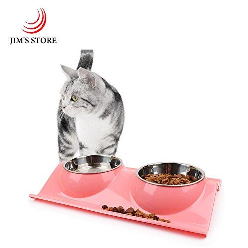 Tazón de fuente del alimentador del animal doméstico, JIM'S STORE Desmontable Tazones de Alimentación Doble Acero inoxidable Gato o perro Comida y agua cuenco Estar Suministros de alimentación (Rosado)