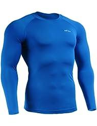 emFraa Homme Femme Sport Compression Blue Baselayer Tee-Shirt Long sleeve S~XXL