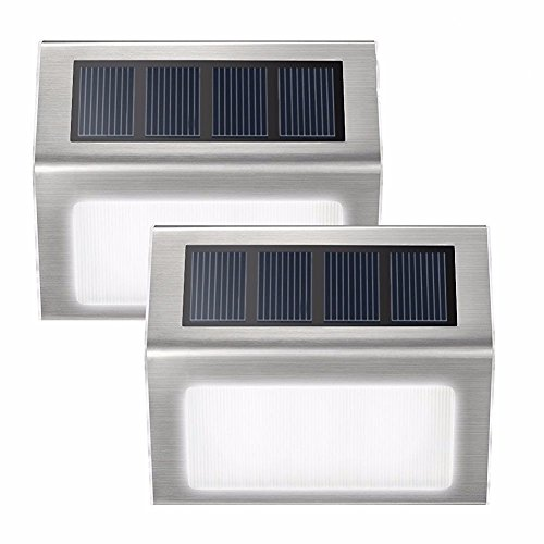 Loveusexy Solar Step Lights 3 LED Solar Powered escalier éclairage extérieur pour les marches chemins patios terrasses étanches 2PCS