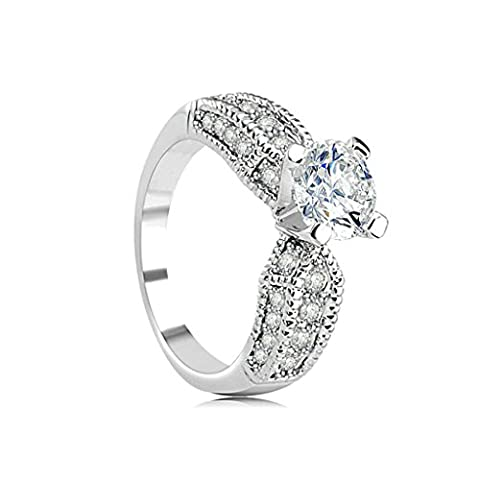 Beydodo White Gold Plating Promise Ring For Women 4-Prong White Aaa CZ Princess Ring Channel Size Q 1/2