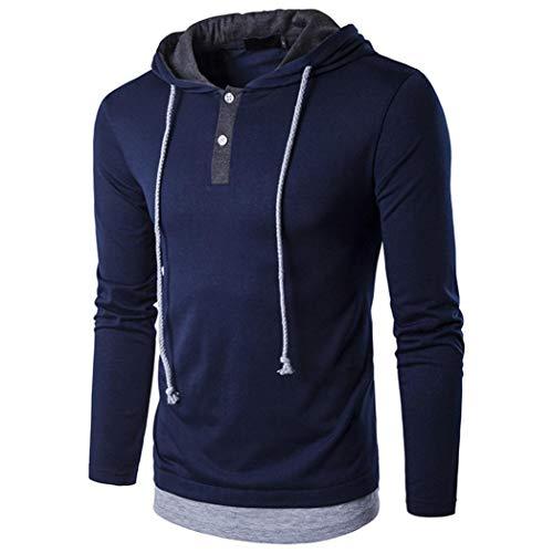Männer Mode-Street-Style Kapuzen-Tunnelzug mit Langen Ärmeln T-Shirt-Jumper Pullover Oberteile - Freizeit Top-Langarm Blusen -Kapuzen Bluse -Outdoor Oberteile-Sweatshirt ()