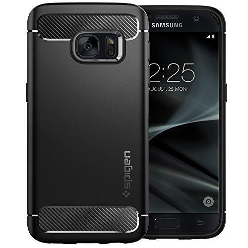 spigen Funda Galaxy S7, Rugged Armor Carbon Fiber Design Compatible con Galaxy S7 2016 - Negro