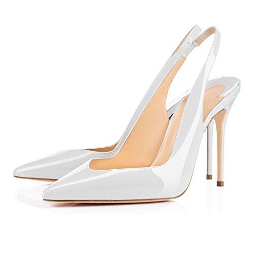 EDEFS - Escarpins Femme - Brillant Slingback Chaussure - Talon Aiguille - Ouvertes à l'arrière femme Blanc