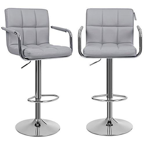 SONGMICS 2 x Bar Stools with Chromed Framework 360 Degree Rotary Soft Padded Chairs Grey LJB93GUK