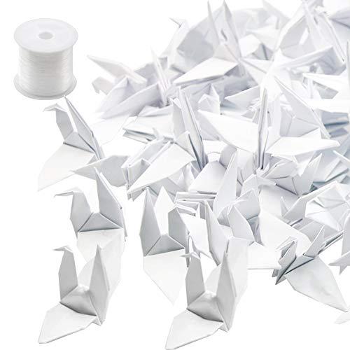 HANGNUO 50 Stück Papier Cranes Origami Kraniche DIY Girlande mit Unsichtbar Silk Gewinde für Hochzeit Geburtstag Party Dekoration, Weiß -