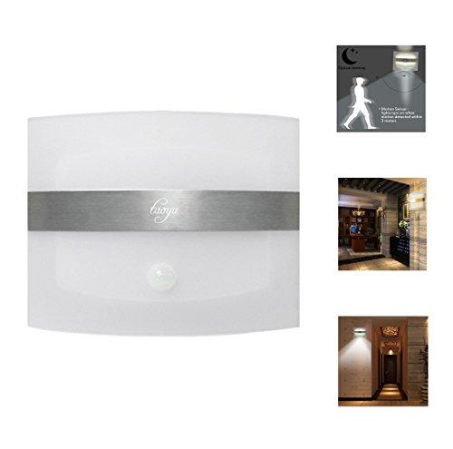 Taoyu Kabellose LED Wandleuchte mit Bewegungsmelder und Batteriebetrieben, Wandlampe für Menschlicher Infrarot-Sensor Bewerben auf Innen Treppe Flur Garage- Weißes Licht (Sensor Garage Licht)