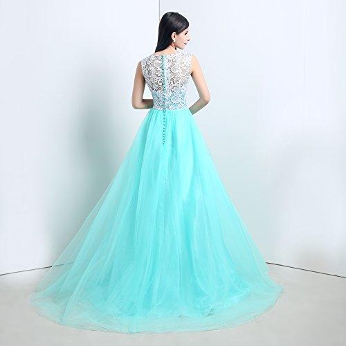 Bridal_Mall Damen Lang mit Traeger Spitze Prom Fest Abendkleider Turkis