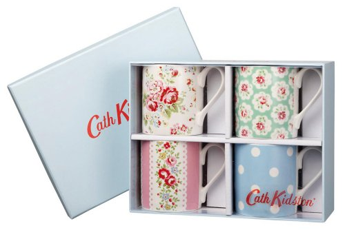 Cath Kidston Multi Larch Mugs In Gift Box, Fine China, Pack Of 4