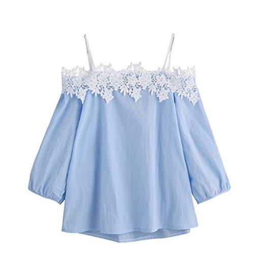 SEWORLD T-Shirt Damen Muttertag Geschenk Frauen Sommer Nadelstreifen aus der Schulter Bluse 3/4 Ärmel Spitze Patchwork Tops Oberteil(Blau,S)