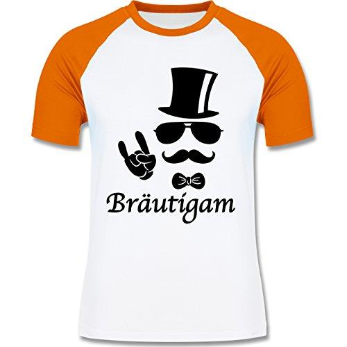 JGA Junggesellenabschied - Bräutigam Hipster Suit up - zweifarbiges Baseballshirt für Männer Weiß/Orange