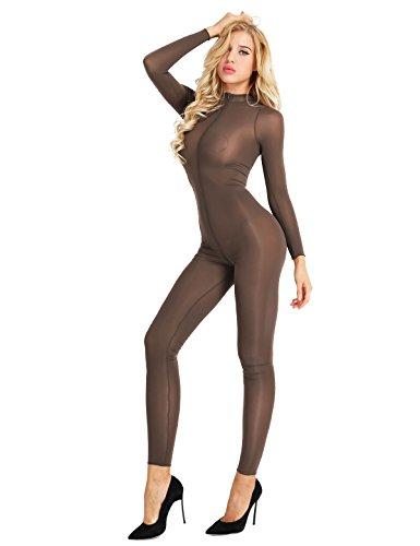 �rperanzug Jumpsuit Einteiler Hose Overall Halb-transparent Body Bodysuit eng und sexy Kostüm Catsuit mit Reisverschluss Dessous Unterwäsche Coffee M (Sexy Kostüme Für Paare)