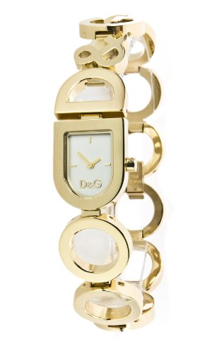 D&G Dolce&Gabbana Women's Quartz Watch with White Dial Analogue Display and Gold Stainless Steel Strap DW0130 D&G