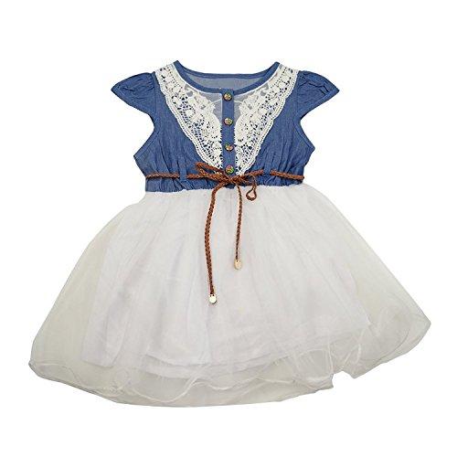 Guancheng ragazze animale pannello esterno della maglia di stampa bambini Sundress bambini Abbigliamento taglie 4-12 (Petite Denim A-gonna)