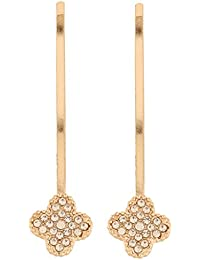 Jazz Jewellery Set Of 2 Gold Toned Stone-Studded Flower Shaped Hair Pins For Women And Girls