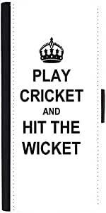 Snoogg Play Cricket And Hit Wicket White Designer Protective Flip Case Cover ...