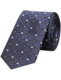 Tiekart Navy Blue Formal Skinny Microfiber Necktie for Men