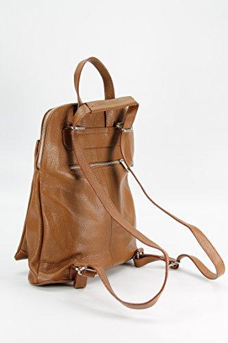 BELLI Backpack Seattle ital. Damen Rucksack Leder Handtasche Cross Body Bag 3in1 - Farbauswahl - 29x32x11 cm (B x H x T) Cognac dark
