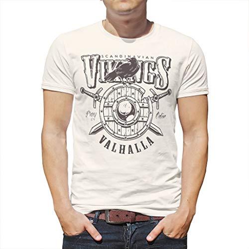 O1FHW-8 Mann Herren T-Shirt Unisex ShirtLustig - Viking Muster drucken Hip Hop Hemd