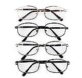 Pack de 4 Gafas de Lectura Vista Cansada Presbicia, Graduadas Dioptrías +1.00 hasta +4.00, Gafas de Hombre y Mujer Unisex con Montura Fina, Bisagras Standard, Para Leer, Ver de Cerca (+1.5)