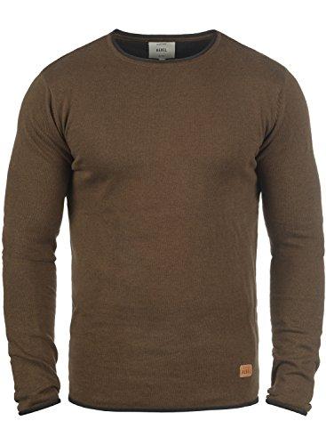 REDEFINED REBEL Maison Herren Strickpullover Feinstrick Pulli mit Rundhals-Ausschnitt aus 100% Baumwolle Meliert Teak Brown