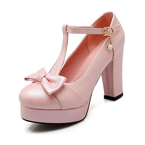 AgooLar Damen Hoher Absatz Weiches Material Rein Rund Zehe Pumps Schuhe Pink