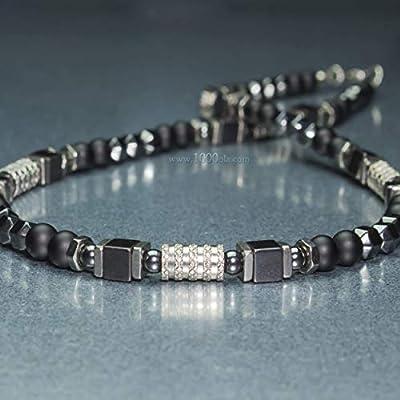 Collier Chic Homme perles Ø 6mm pierre gemme Agate Noir Hématite - anneaux hexagone Acier inoxydable couleur argent Fait main Made in France COLLINOXYDOR