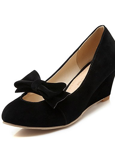WSS 2016 Chaussures Femme-Bureau & Travail / Décontracté-Noir / Jaune / Rouge / Beige-Talon Compensé-Compensées / Bout Arrondi-Chaussures à Talons- red-us8 / eu39 / uk6 / cn39