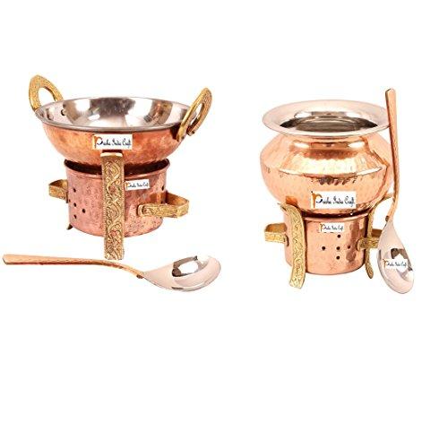 Artesanía India Prisha ® Set de 2 de cobre sigri con uno kadhai , uno handi cazuela y dos cuchara de servir , Utensilios de Cocina set sigdi cobre accesorios