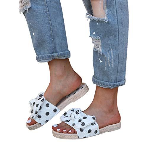2019 Sandalias Y Chanclas Para Mujer, Alpargatas Planas Con Lazo Con Lunares De Vestir Vacasiones Outdoor Interior Chanclas De Verano Zapato Zapatillas De Talla Grande 35-43(Blanco, 40)