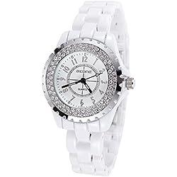AIBI® Women's Waterproof Crystal Circle Bezel Quartz Wrist Watch with White Ceramic Band