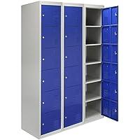 MonsterShop Metal Lockers 3 x 6 Doors Storage, Flatpack Blue & Grey Metal Lockable Unit Staff School Gym Changing