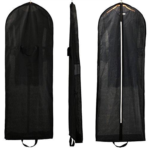 HIMRY® Atmungsaktiver Faltbare Kleidersack Schutzhülle, ca. 149 cm, Zwei Taschen für Zubehörteile, für Kleider / Abendkleider / Anzüge / Mäntel, Reissverschluss Schwarz KXB-107 black