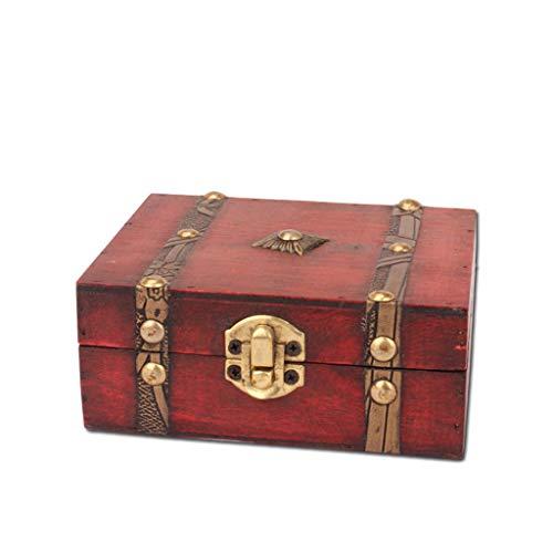 FiedFikt - Portagioie Vintage in Legno, Fatto a Mano, con Mini Serratura in Metallo, per conservare Gioielli e Perle