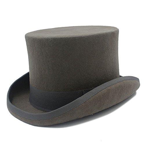 HHF Caps y Sombreos Para mago Steampunk Sombrero Mad Hatter Tío Sam Beaver Sombrero de Novia, Sombrero de Copa Gris Femenino de Lana Negro Hombre Fedora (Color : 1, Size : 55CM)