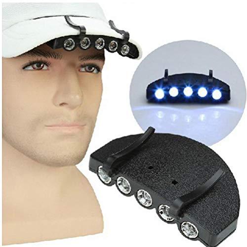 Onsinic 1PC Nacht Safe Clip-on 5 LEDs Kopf Cap/Hutkrempe Licht Fishing Camp Jagd Outdoor-Beleuchtung-Kopf-Lampen-Fackel