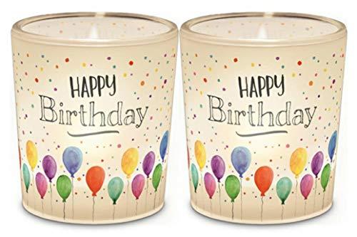 Lavida Kerzen Teelichter Teelicht im Glas Happy Birthday zum Verschenken mit Spruch in Geschenkverpackung Geschenkidee