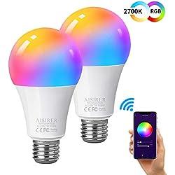 Ampoule Intelligente Wifi Led Smart Bulb E27, AISIRER Ampoule connectee alexa, Compatible Avec Alexa, Google Home et IFTTT, Commande De Téléphone, Lumière Blanche Chaude Sans Moyeu Nécessaire 2 Pack