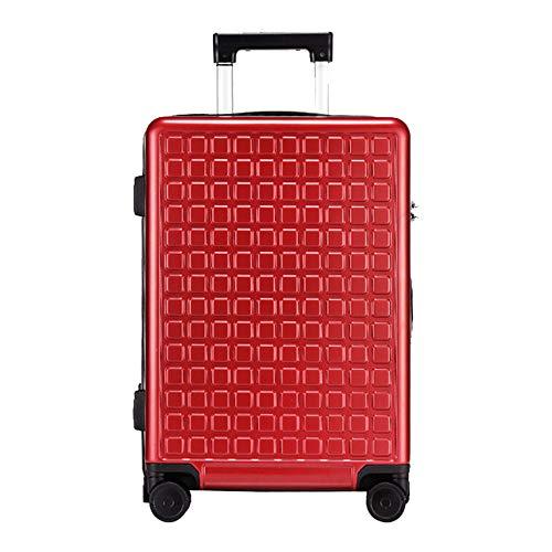 FGKING Smart Trolley, Fingerprint Unlocking Suitcase, Solar-Handy, das High-End-Geschäftsreisen auflädt Vollautomatischer Smart Trolley,Rot,24inch